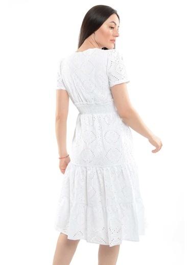 Reyon Kruvaze Yaka Bel Büzgülü Elbise Lacivert Beyaz